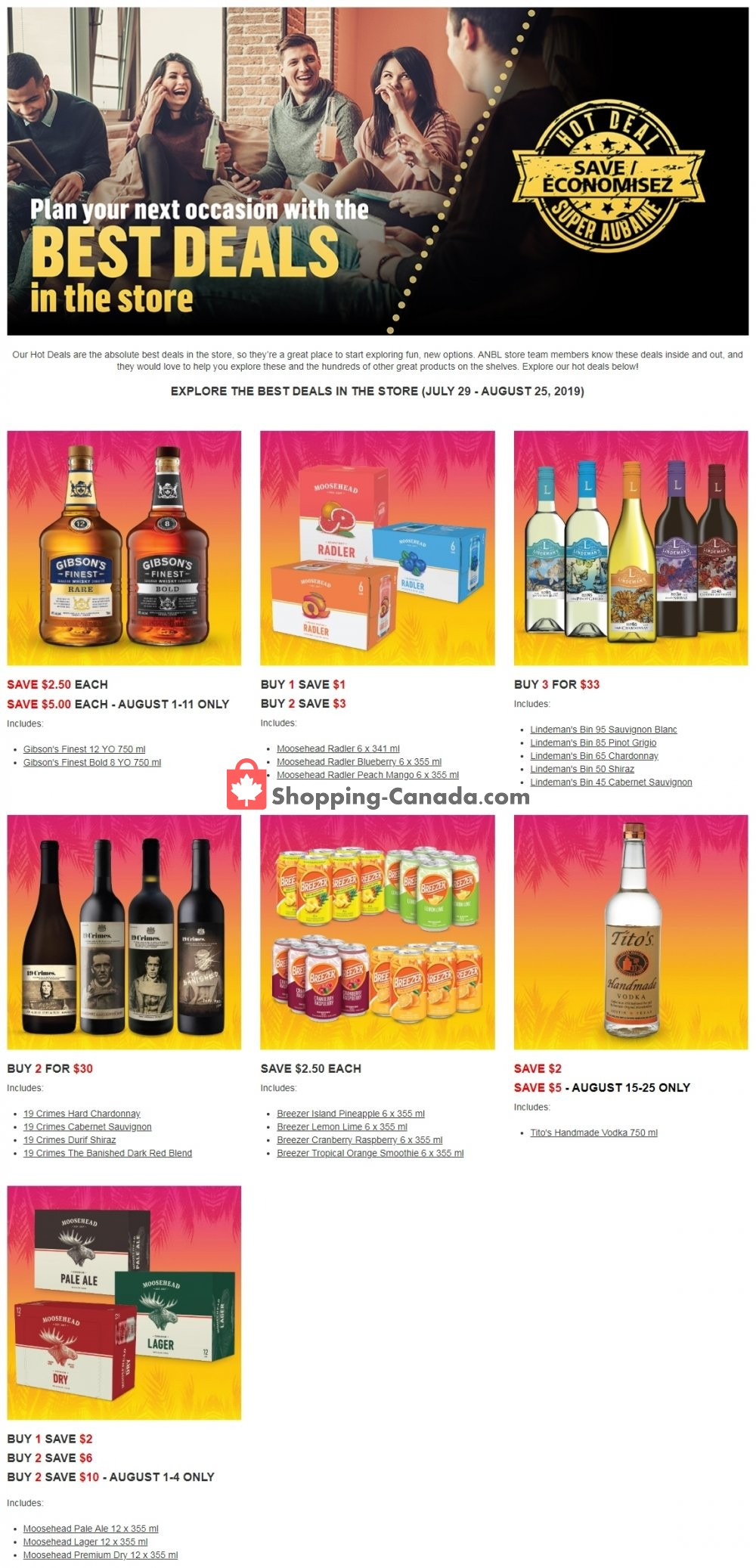 Flyer Alcool NB Liquor Canada - from Monday July 29, 2019 to Sunday August 25, 2019