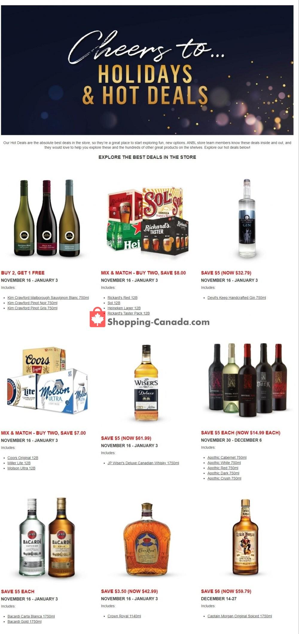 Flyer Alcool NB Liquor Canada - from Monday November 16, 2020 to Sunday January 3, 2021