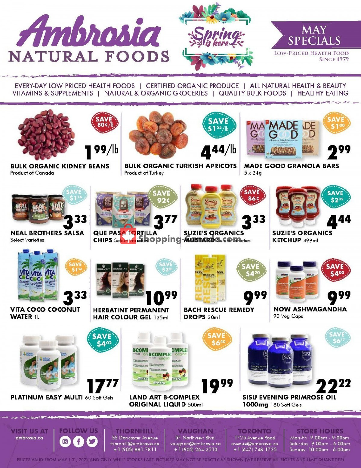 Flyer Ambrosia Natural Foods Canada - from Saturday May 1, 2021 to Monday May 31, 2021