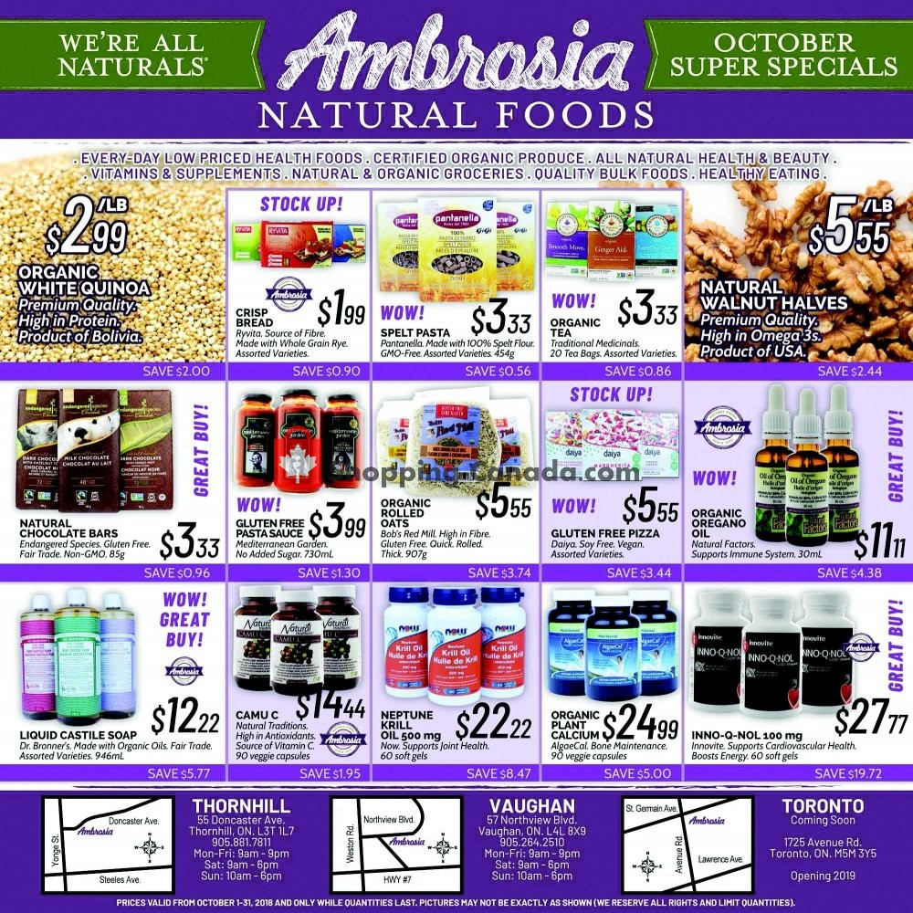 Flyer Ambrosia Natural Foods Canada - from Monday October 1, 2018 to Wednesday October 31, 2018
