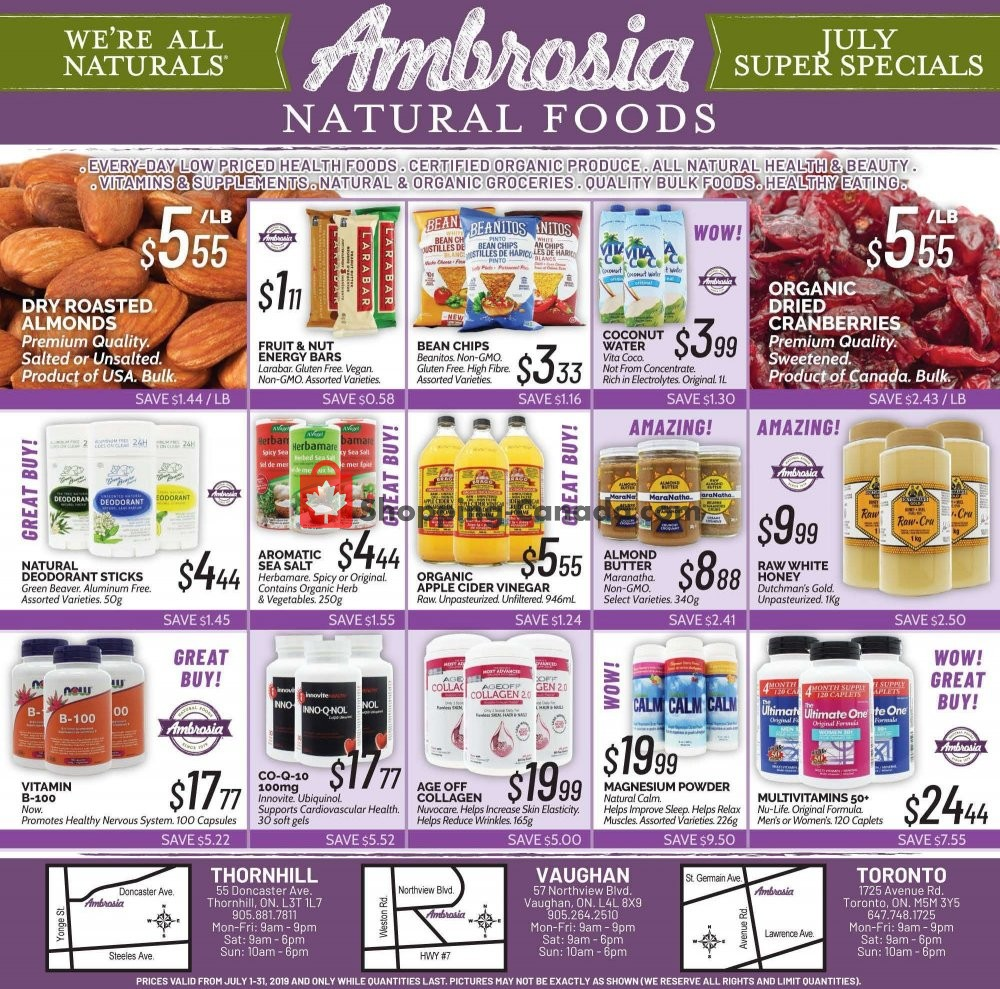 Wed Food Specials: Flyer And Weekly Ads: Ambrosia Natural Foods Canada