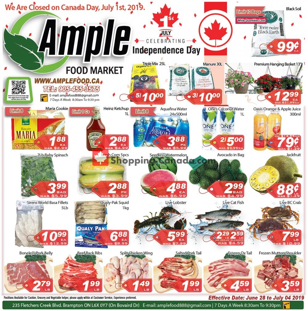 Flyer Ample Food Market Canada - from Friday June 28, 2019 to Thursday July 4, 2019