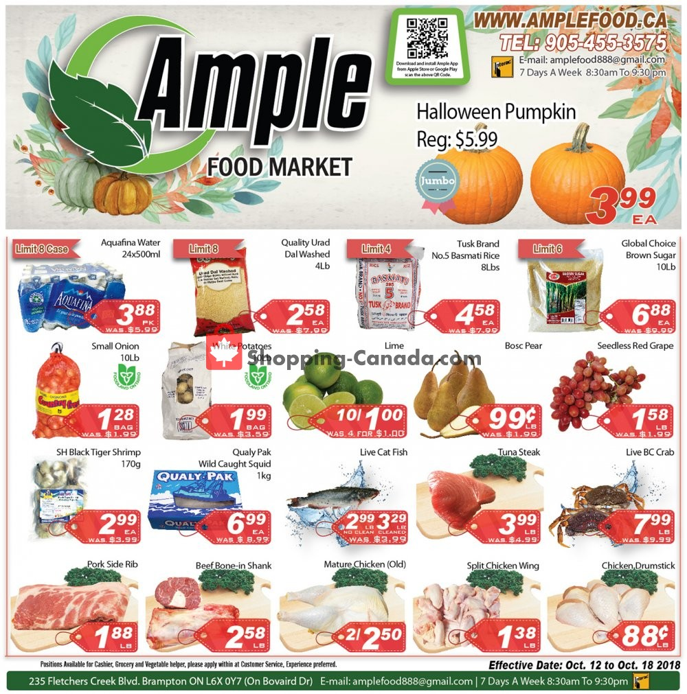Flyer Ample Food Market Canada - from Friday October 12, 2018 to Thursday October 18, 2018