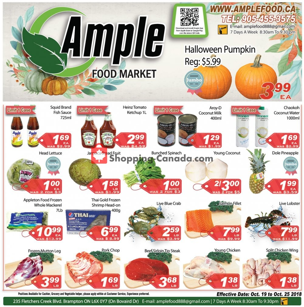 Flyer Ample Food Market Canada - from Friday October 19, 2018 to Thursday October 25, 2018