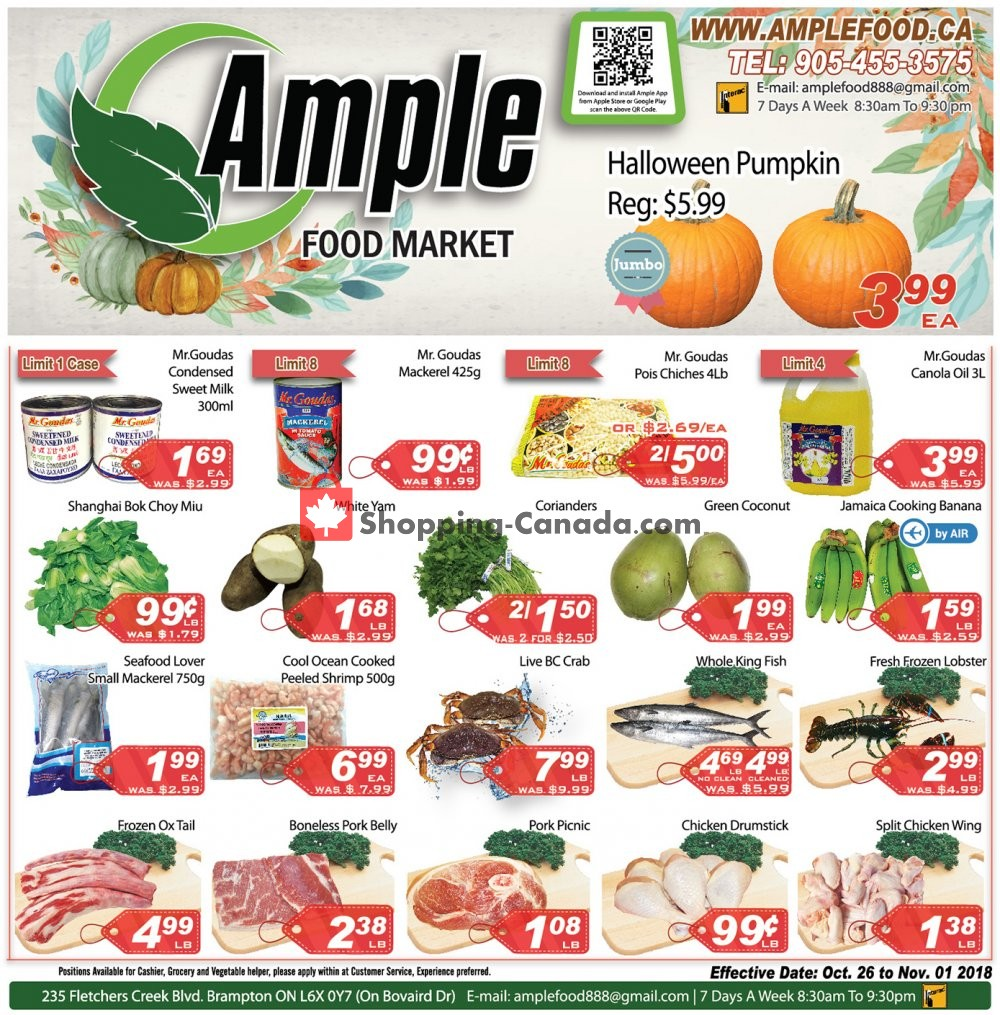 Flyer Ample Food Market Canada - from Friday October 26, 2018 to Thursday November 1, 2018