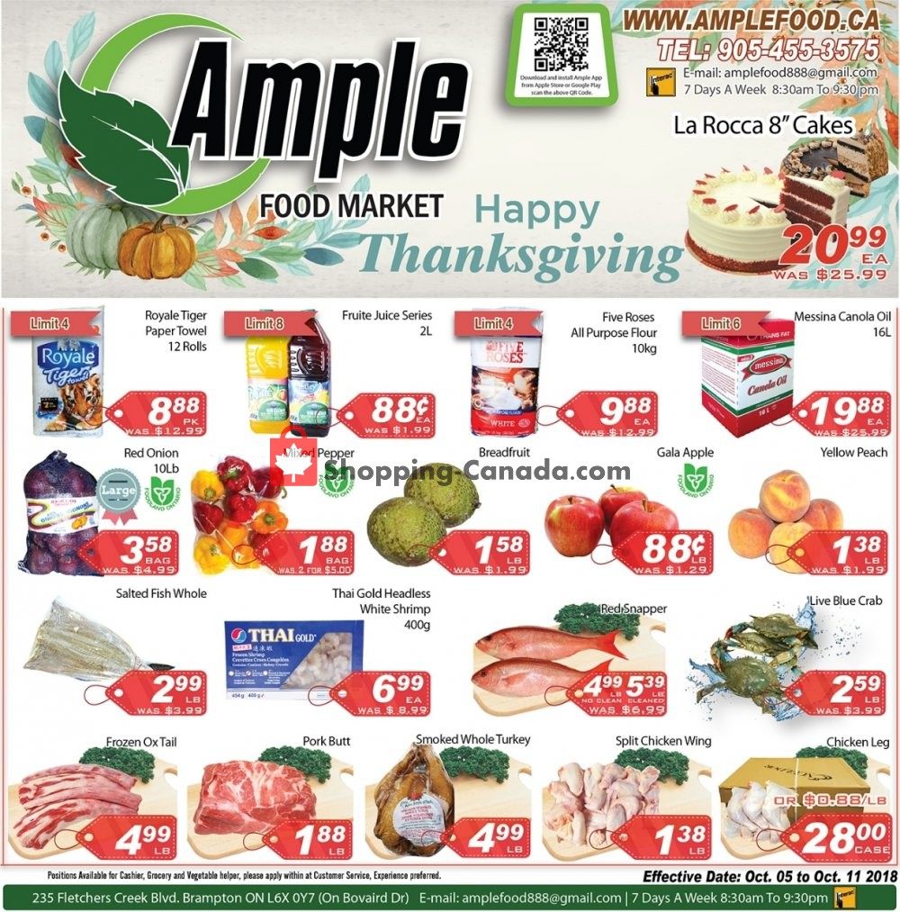 Flyer Ample Food Market Canada - from Friday October 5, 2018 to Thursday October 11, 2018