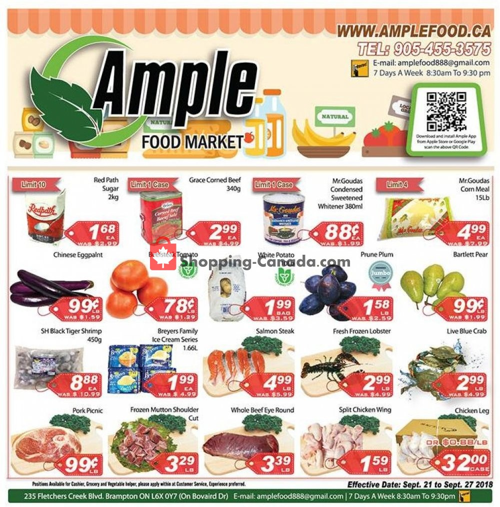 Flyer Ample Food Market Canada - from Friday September 21, 2018 to Thursday September 27, 2018