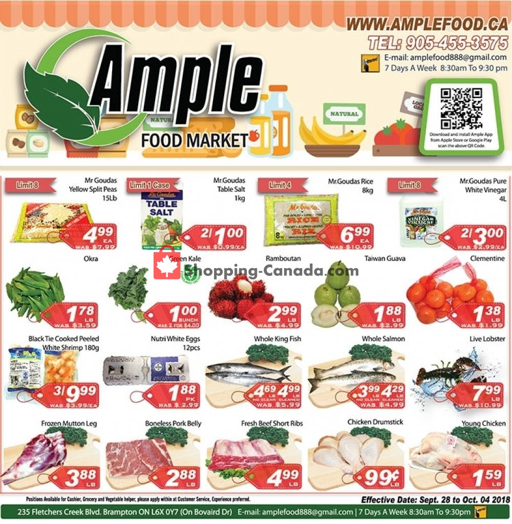 Flyer Ample Food Market Canada - from Friday September 28, 2018 to Thursday October 4, 2018