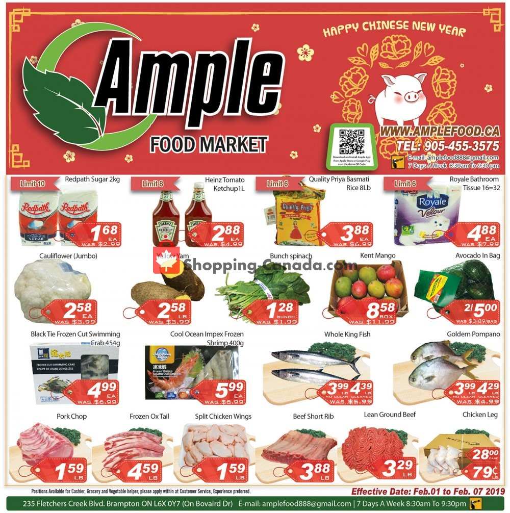 Flyer Ample Food Market Canada - from Friday February 1, 2019 to Thursday February 7, 2019