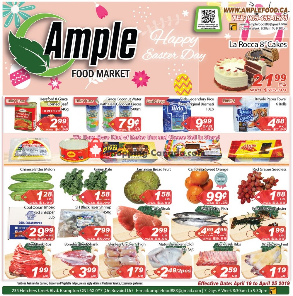 Flyer Ample Food Market Canada - from Friday April 19, 2019 to Thursday April 25, 2019