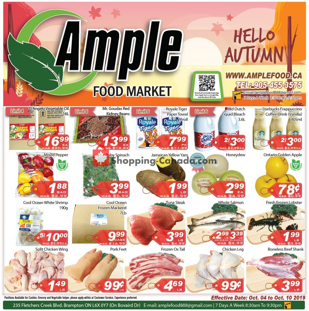Flyer Ample Food Market Canada - from Friday October 4, 2019 to Thursday October 10, 2019