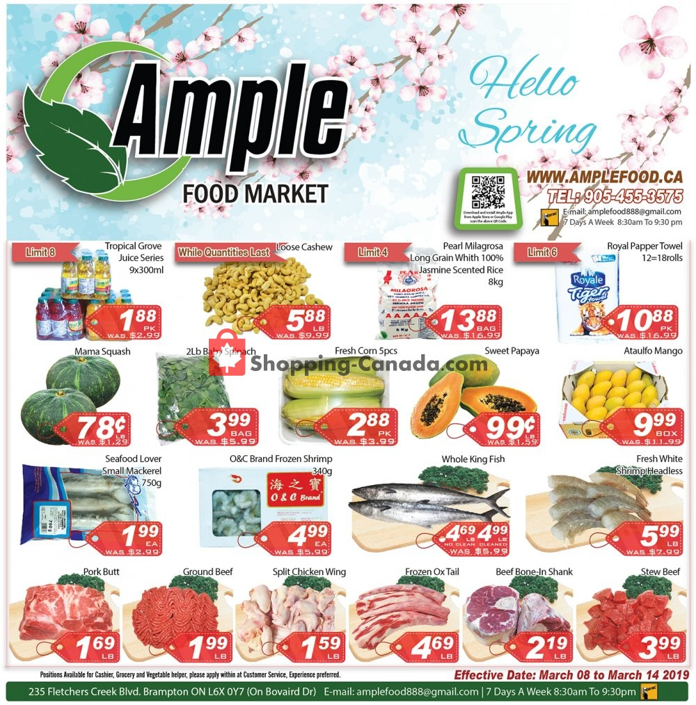 Flyer Ample Food Market Canada - from Friday March 8, 2019 to Thursday March 14, 2019