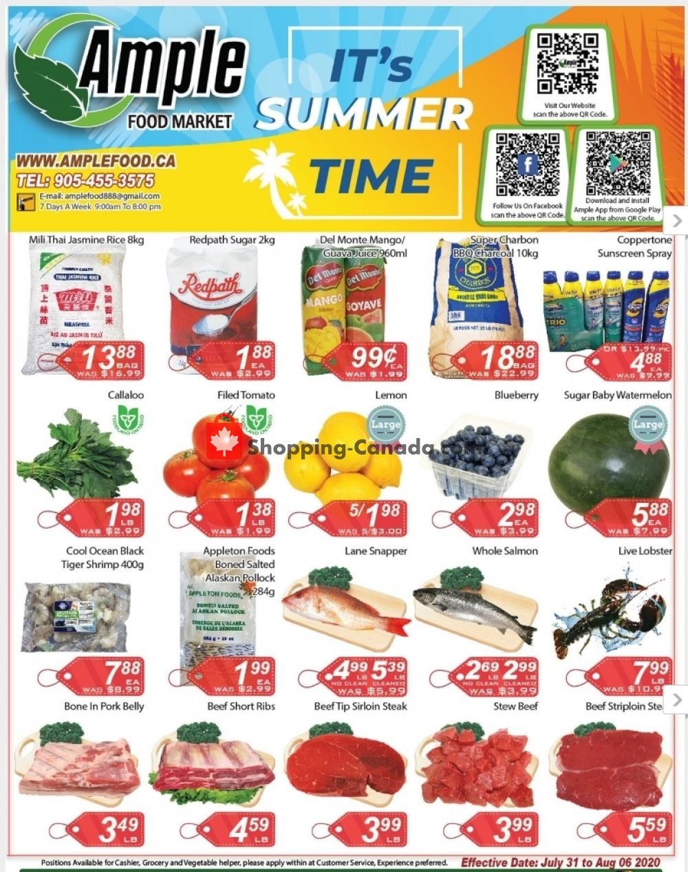 Flyer Ample Food Market Canada - from Friday July 31, 2020 to Thursday August 6, 2020