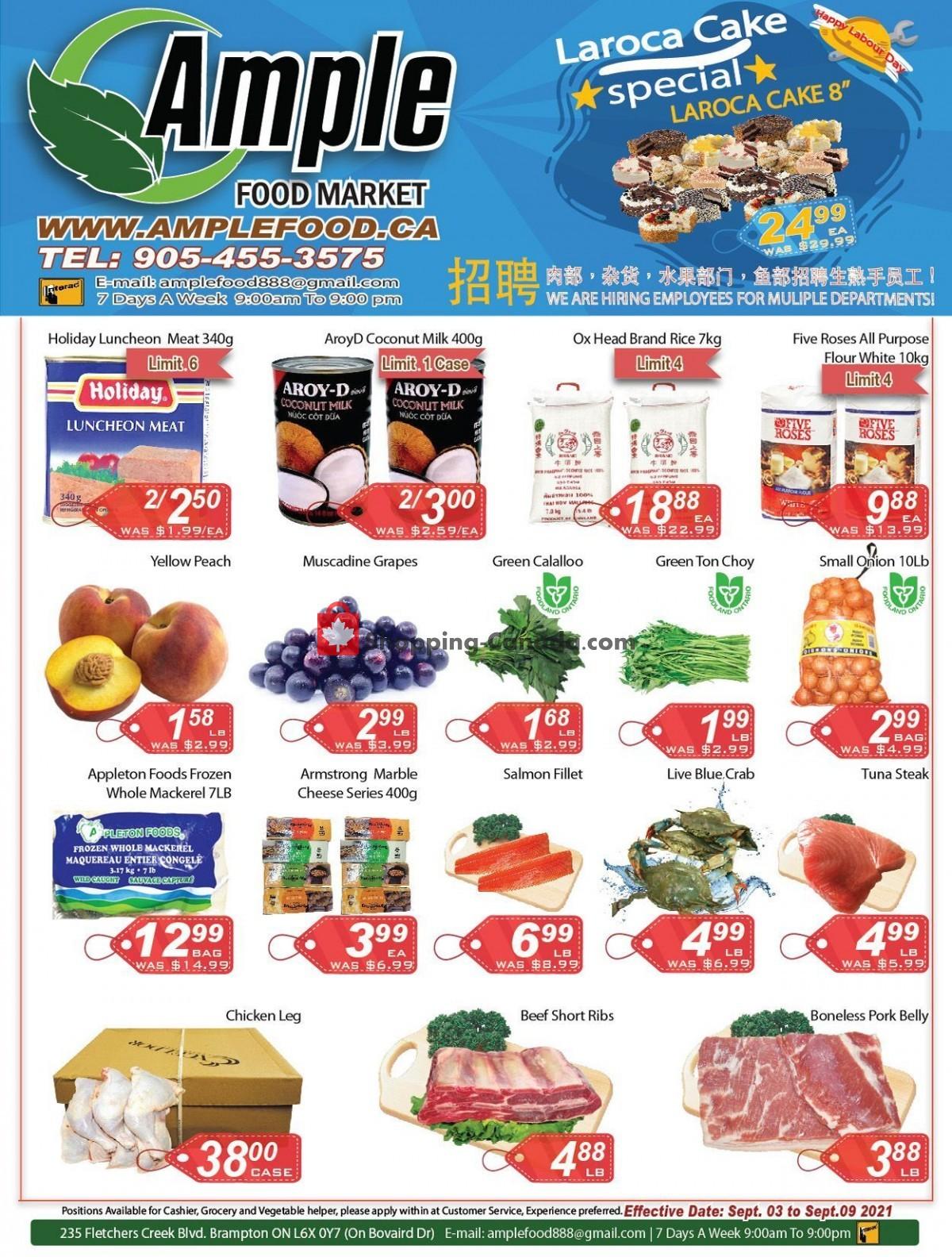 Flyer Ample Food Market Canada - from Friday September 3, 2021 to Thursday September 9, 2021