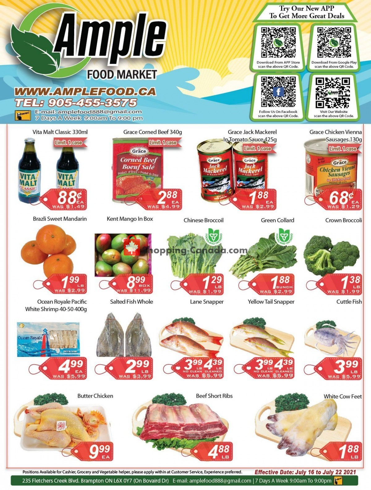 Flyer Ample Food Market Canada - from Friday July 16, 2021 to Thursday July 22, 2021