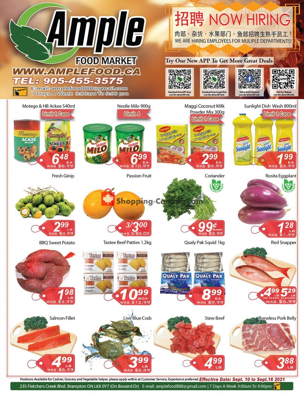 Flyer Ample Food Market Canada - from Friday September 10, 2021 to Thursday September 16, 2021
