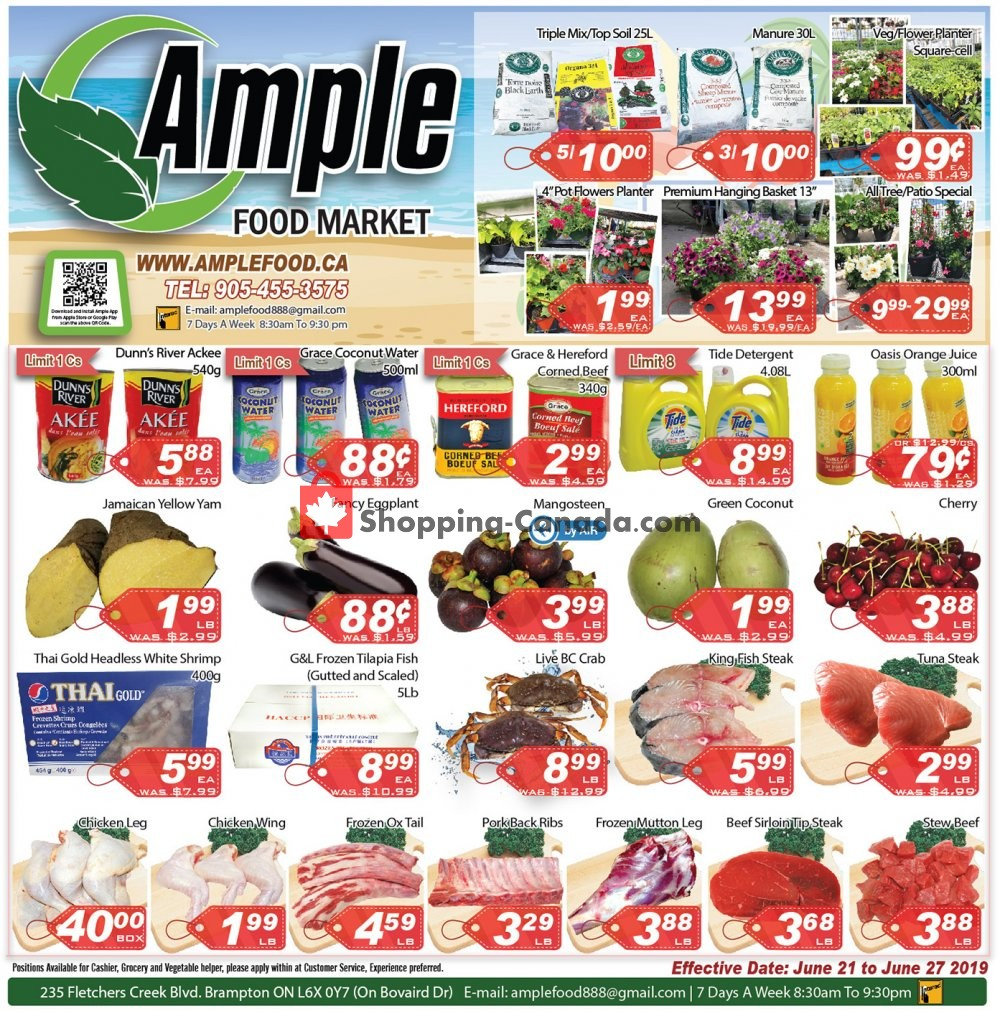 Flyer Ample Food Market Canada - from Friday June 21, 2019 to Thursday June 27, 2019