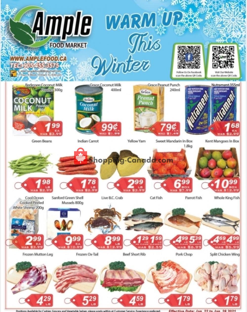 Flyer Ample Food Market Canada - from Friday January 22, 2021 to Thursday January 28, 2021