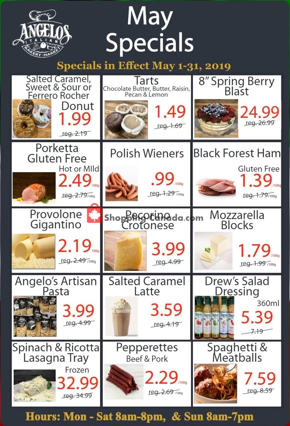 Flyer Angelos Italian Bakery & Market Canada - from Wednesday May 1, 2019 to Friday May 31, 2019