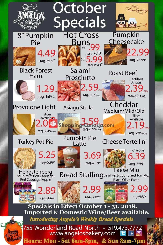 Flyer Angelos Italian Bakery & Market Canada - from Monday October 1, 2018 to Wednesday October 31, 2018