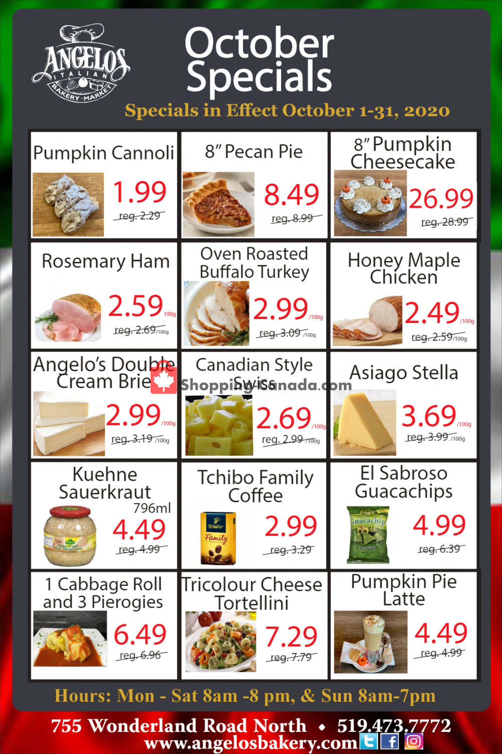Flyer Angelos Italian Bakery & Market Canada - from Thursday October 1, 2020 to Saturday October 31, 2020