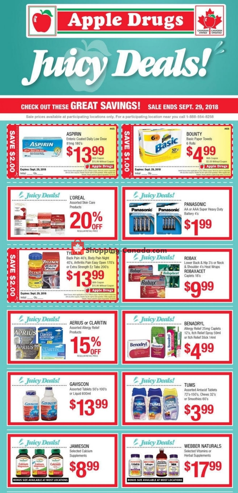 Flyer Apple Drugs Canada - from Sunday September 23, 2018 to Saturday September 29, 2018