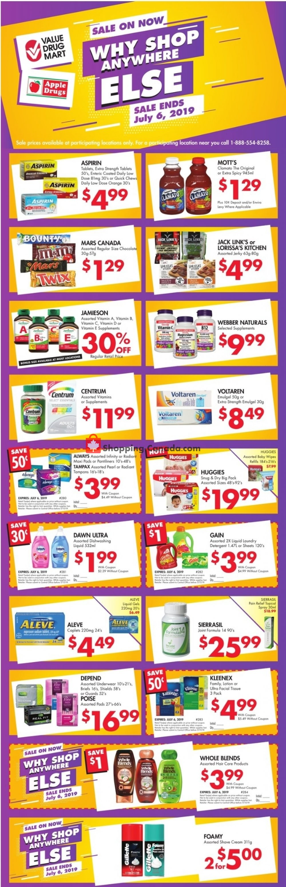 Flyer Apple Drugs Canada - from Sunday June 30, 2019 to Saturday July 6, 2019