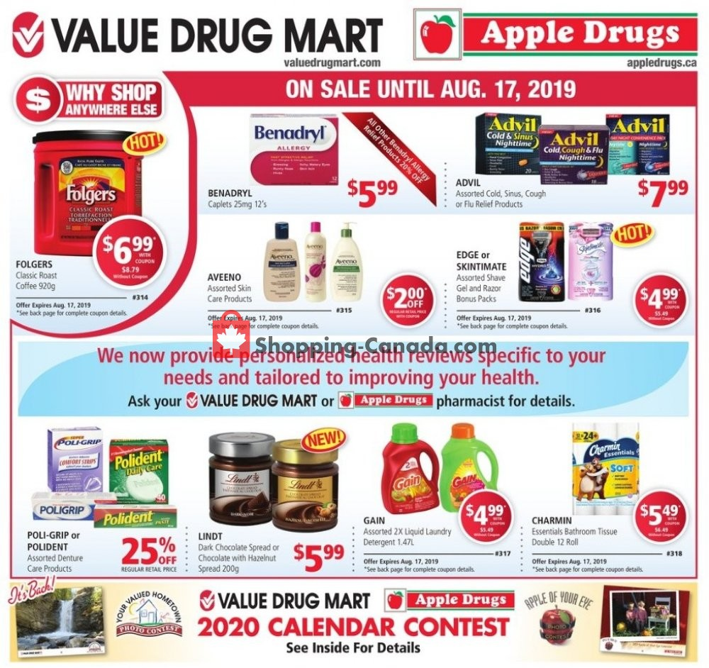 Flyer Apple Drugs Canada - from Sunday August 4, 2019 to Saturday August 17, 2019