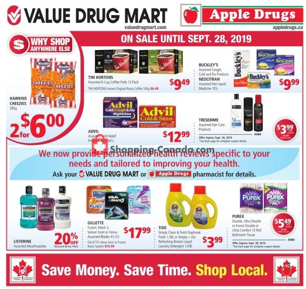 Flyer Apple Drugs Canada - from Sunday September 15, 2019 to Saturday September 28, 2019