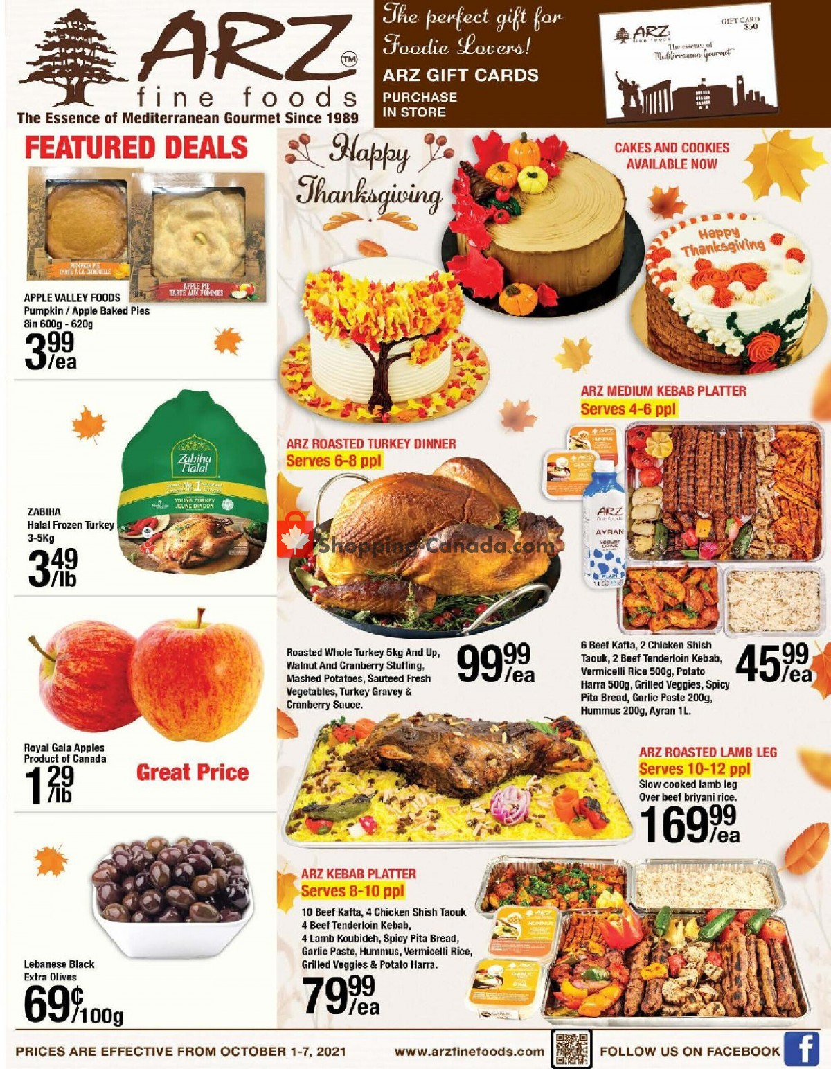 Flyer Arz Fine Foods Canada - from Friday October 1, 2021 to Thursday October 7, 2021