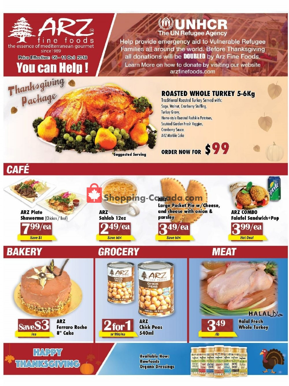 Flyer Arz Fine Foods Canada - from Friday October 5, 2018 to Thursday October 11, 2018