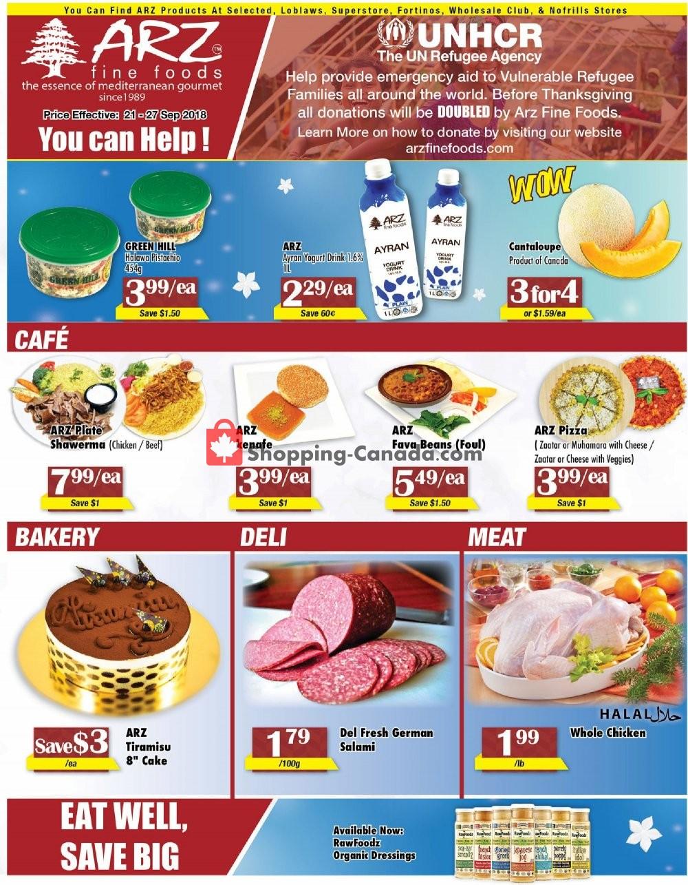 Flyer Arz Fine Foods Canada - from Friday September 21, 2018 to Thursday September 27, 2018