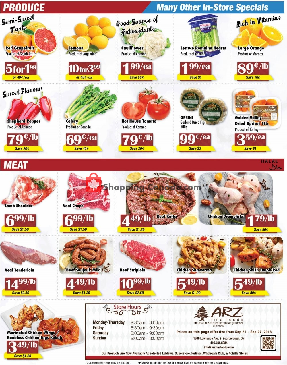 Flyer Arz Fine Foods Canada - from Friday September 21, 2018 to Thursday September 27, 2018