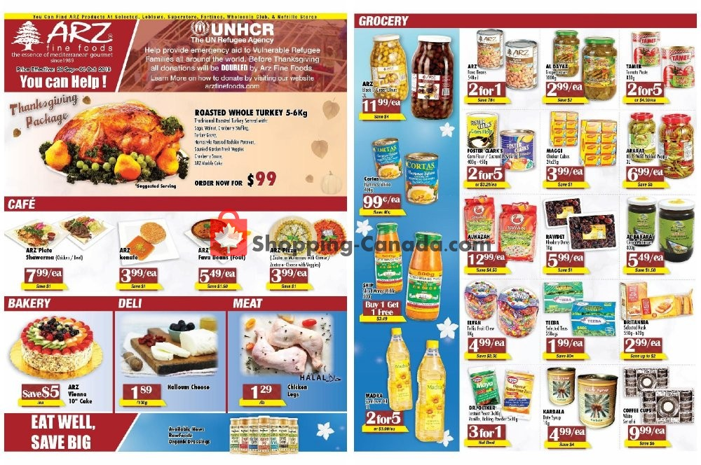 Flyer Arz Fine Foods Canada - from Friday September 28, 2018 to Thursday October 4, 2018