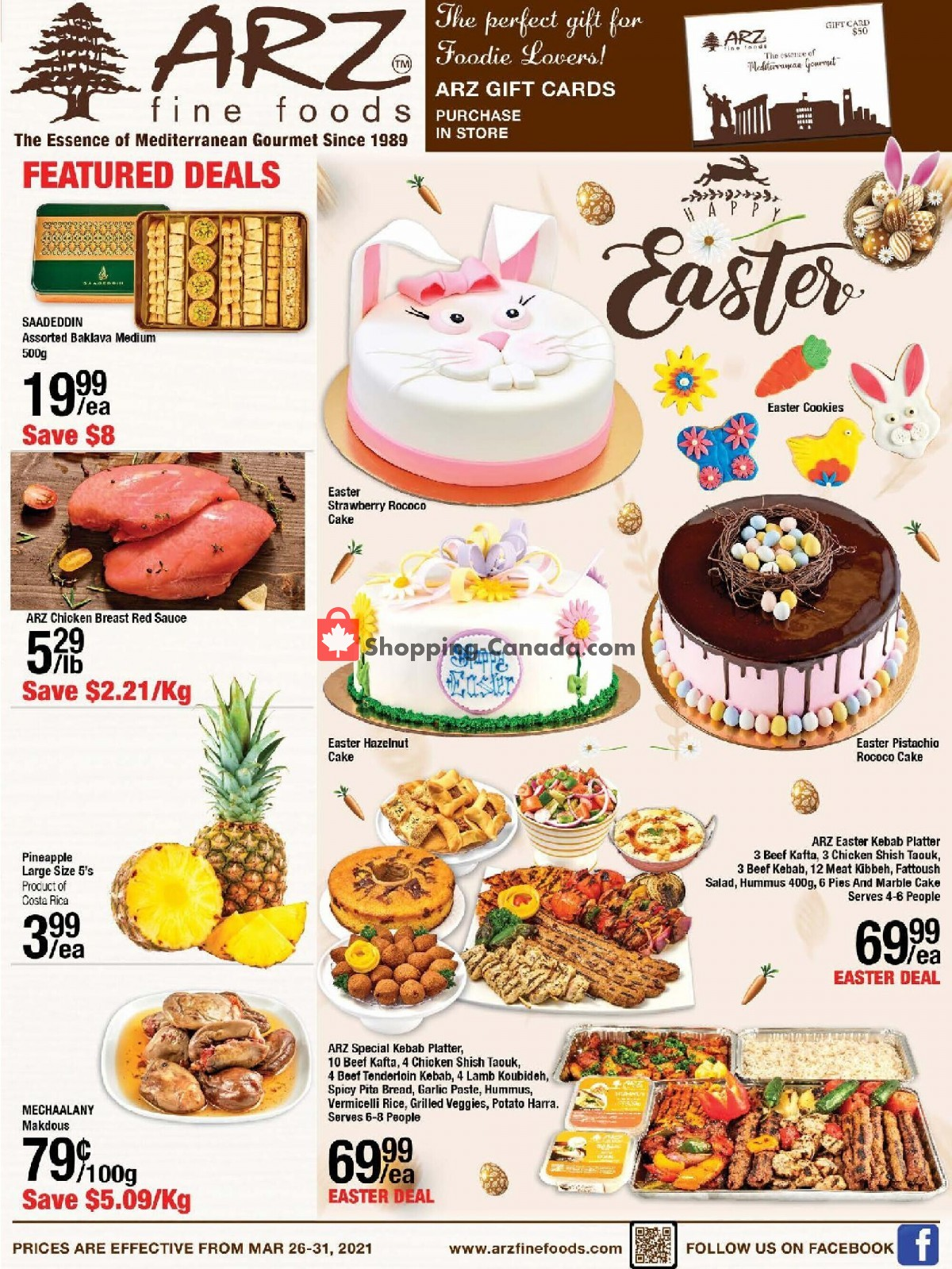 Flyer Arz Fine Foods Canada - from Friday March 26, 2021 to Wednesday March 31, 2021