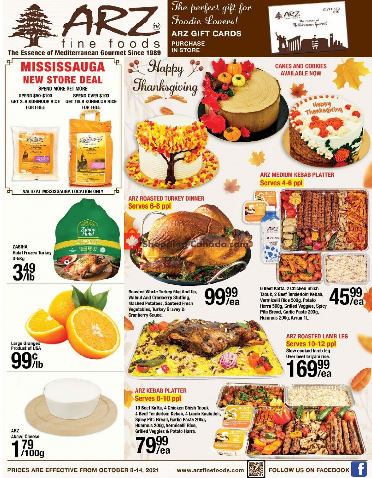 Flyer Arz Fine Foods Canada - from Friday October 8, 2021 to Thursday October 14, 2021