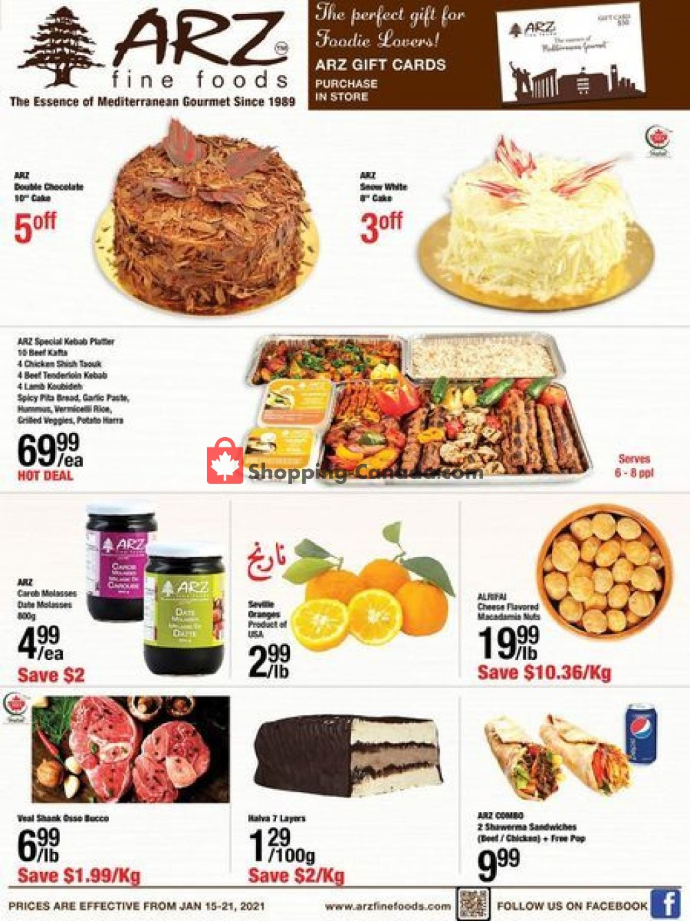 Flyer Arz Fine Foods Canada - from Friday January 15, 2021 to Thursday January 21, 2021