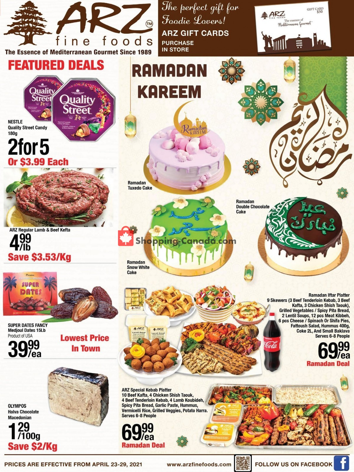 Flyer Arz Fine Foods Canada - from Friday April 23, 2021 to Thursday April 29, 2021