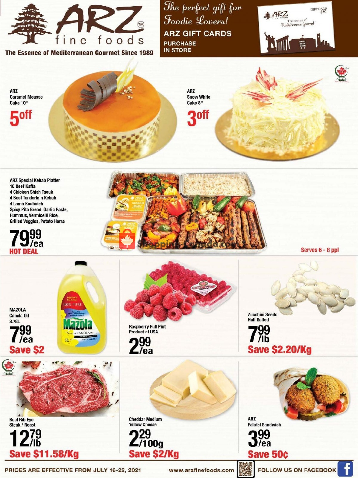 Flyer Arz Fine Foods Canada - from Friday July 16, 2021 to Thursday July 22, 2021