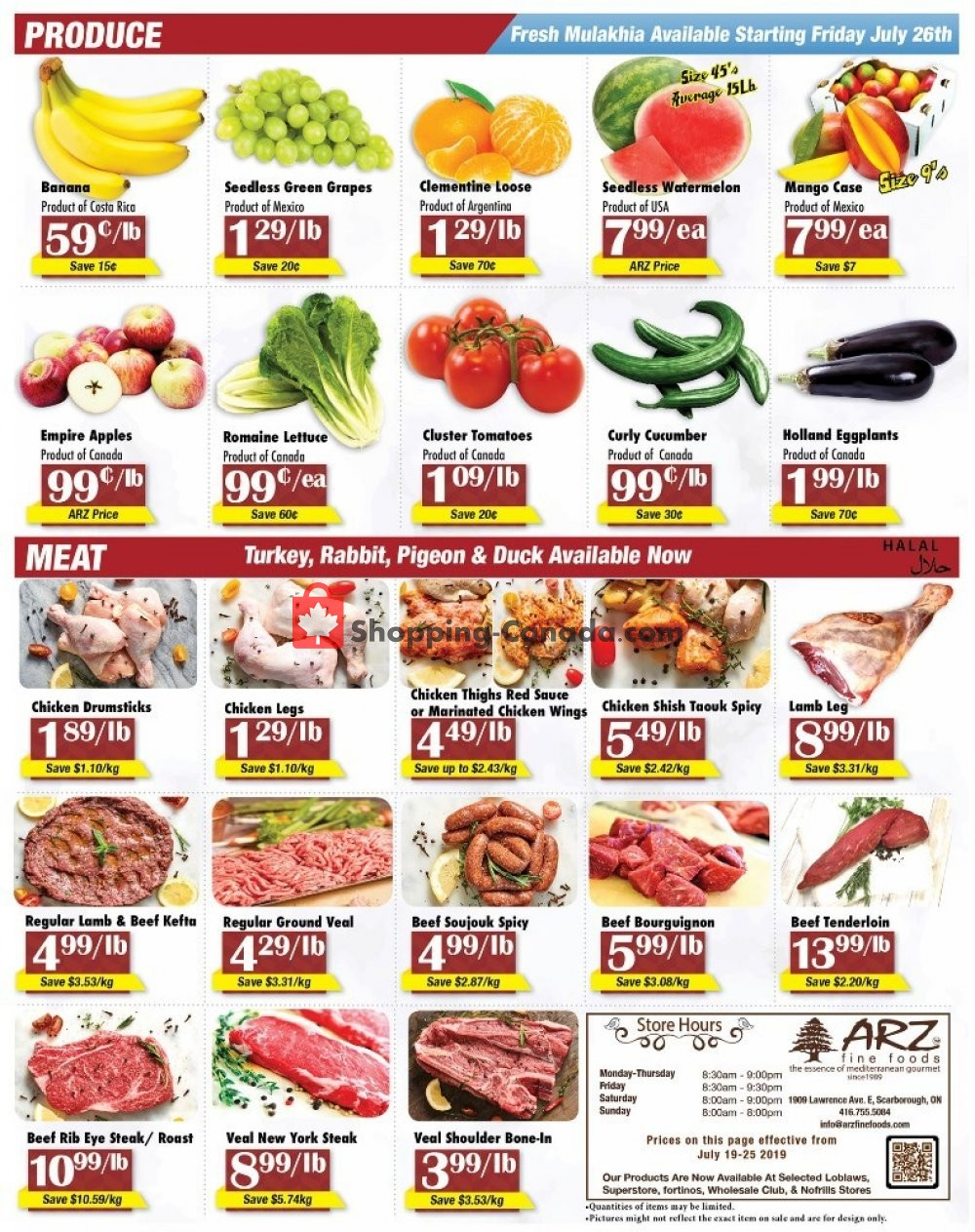 Flyer Arz Fine Foods Canada - from Friday July 19, 2019 to Thursday July 25, 2019