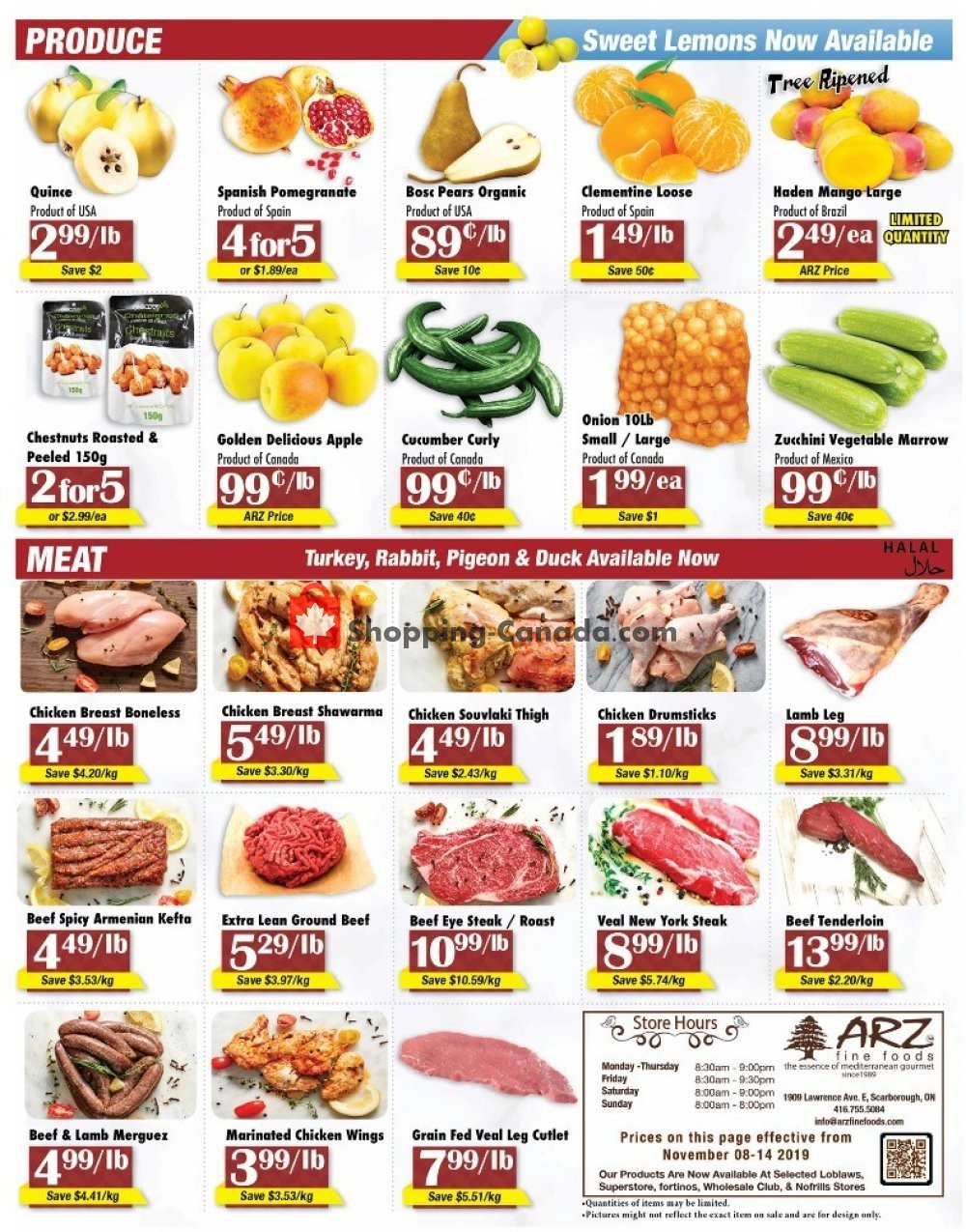 Flyer Arz Fine Foods Canada - from Friday November 8, 2019 to Thursday November 14, 2019