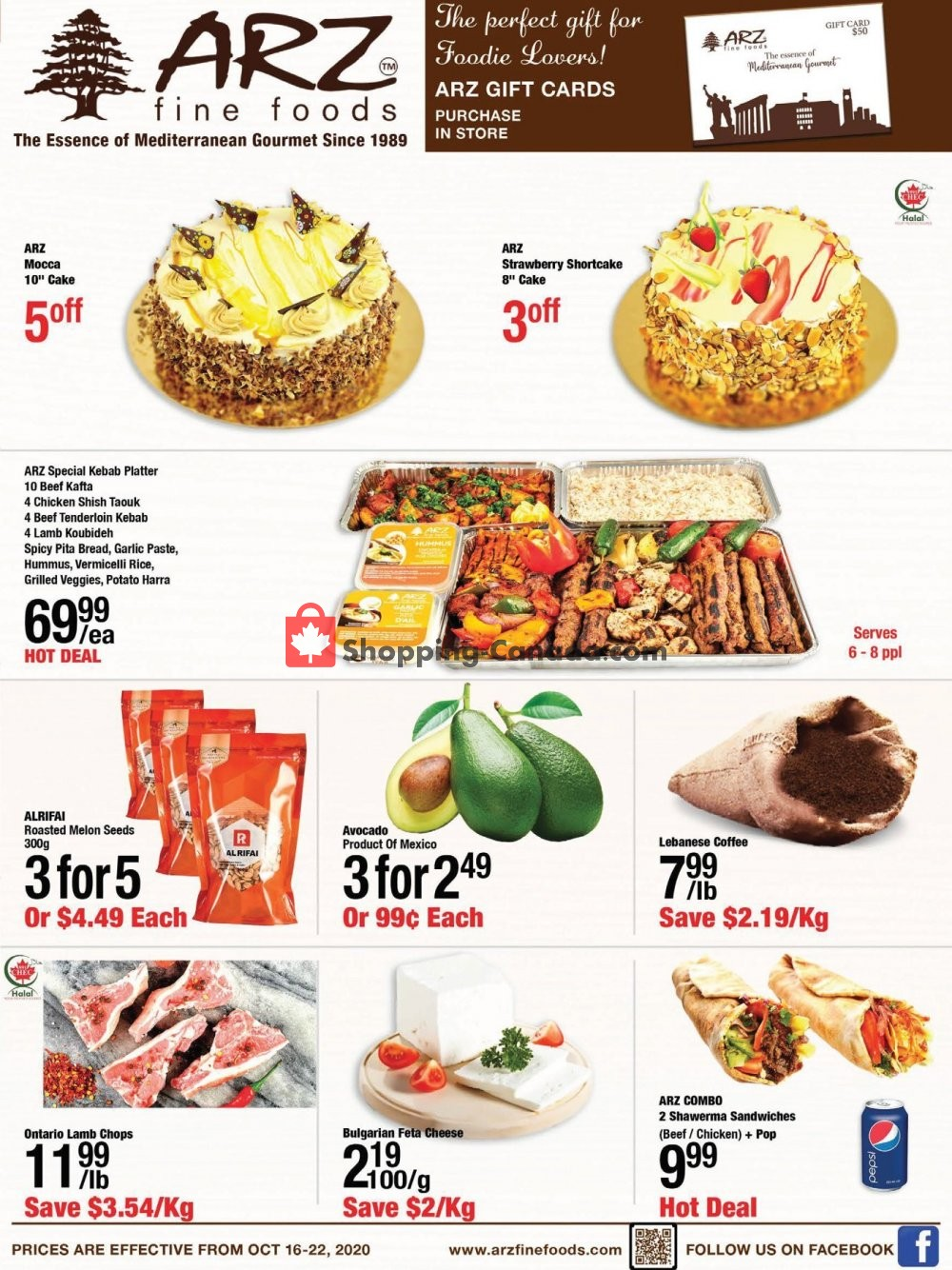 Flyer Arz Fine Foods Canada - from Friday October 16, 2020 to Thursday October 22, 2020