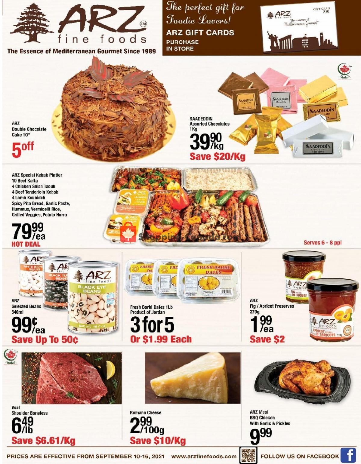 Flyer Arz Fine Foods Canada - from Friday September 10, 2021 to Thursday September 16, 2021