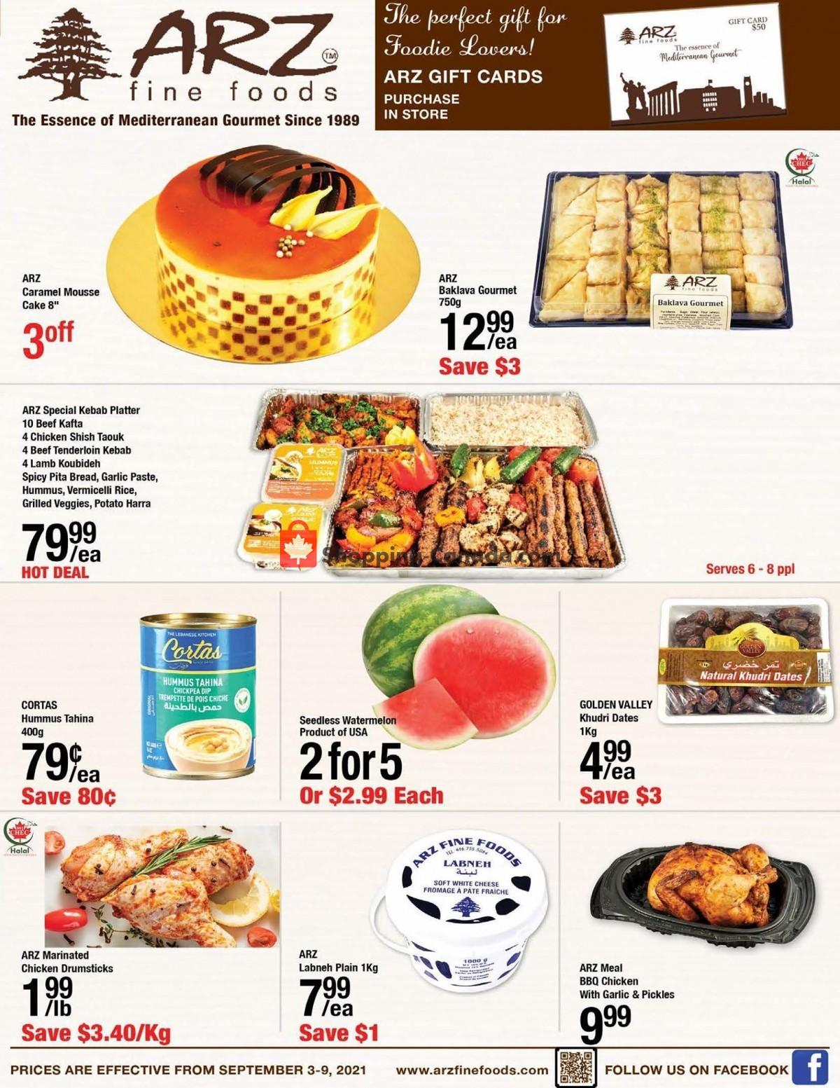 Flyer Arz Fine Foods Canada - from Friday September 3, 2021 to Thursday September 9, 2021