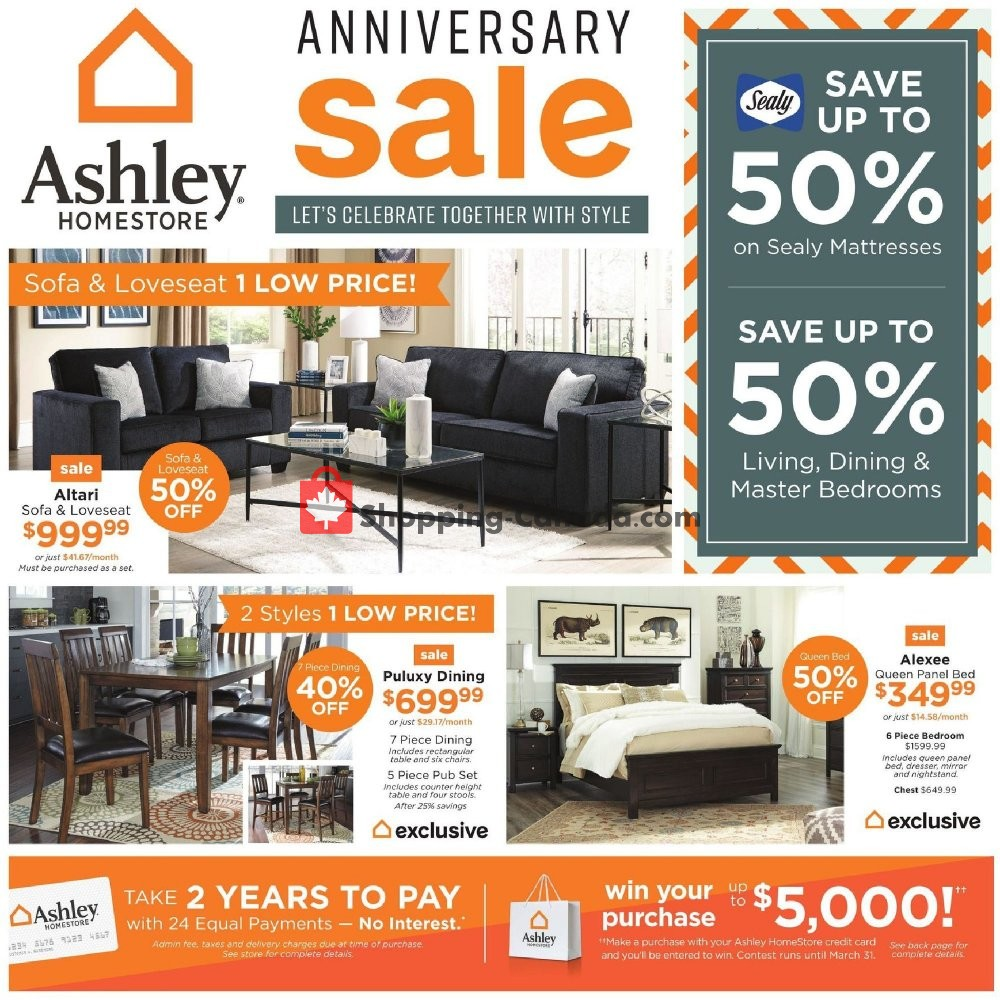 Flyer And Weekly Ads Ashley Homestore Canada Anniversary Sale
