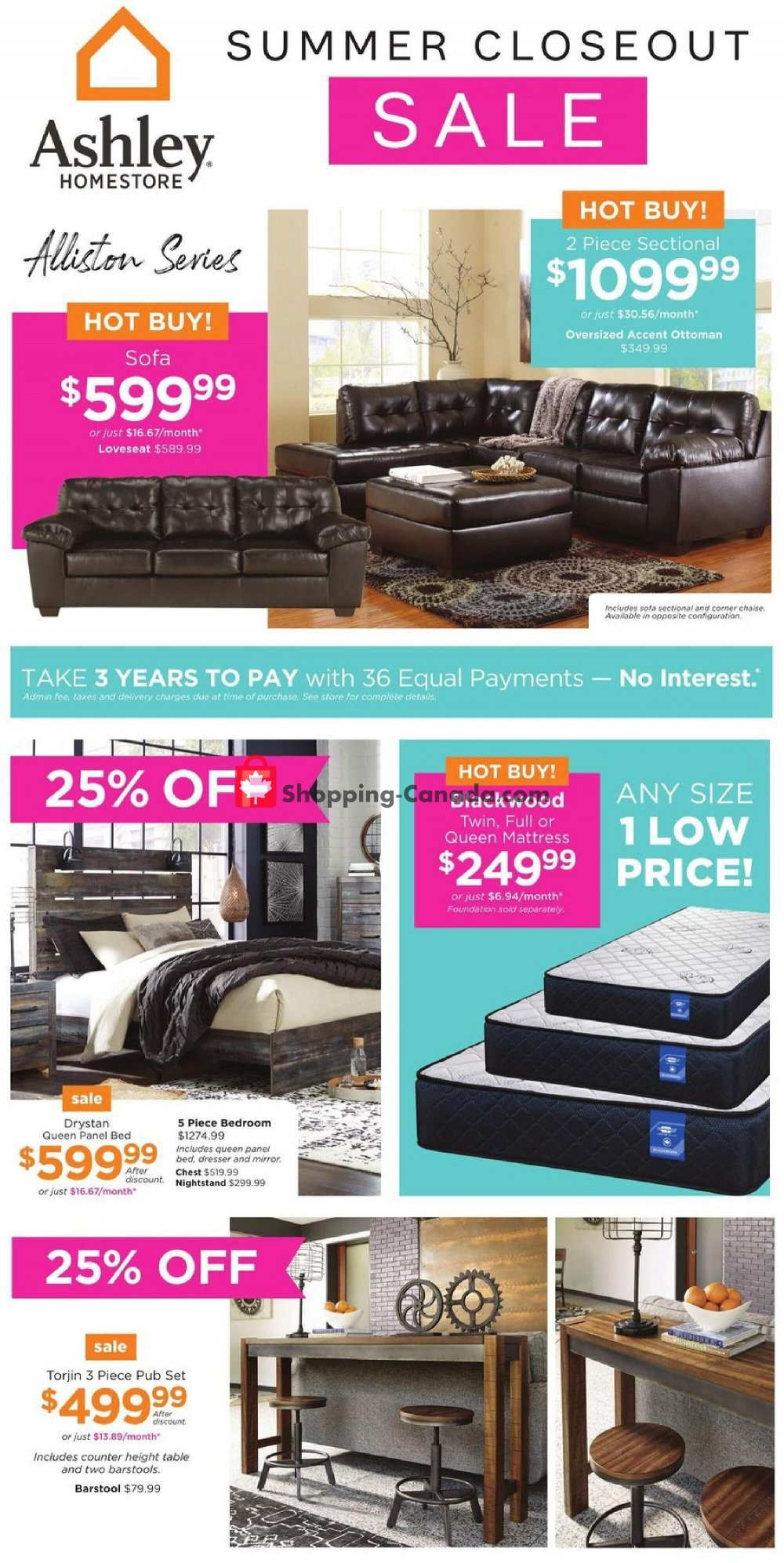 Flyer ASHLEY HOMESTORE Canada - from Monday July 27, 2020 to Monday August 3, 2020