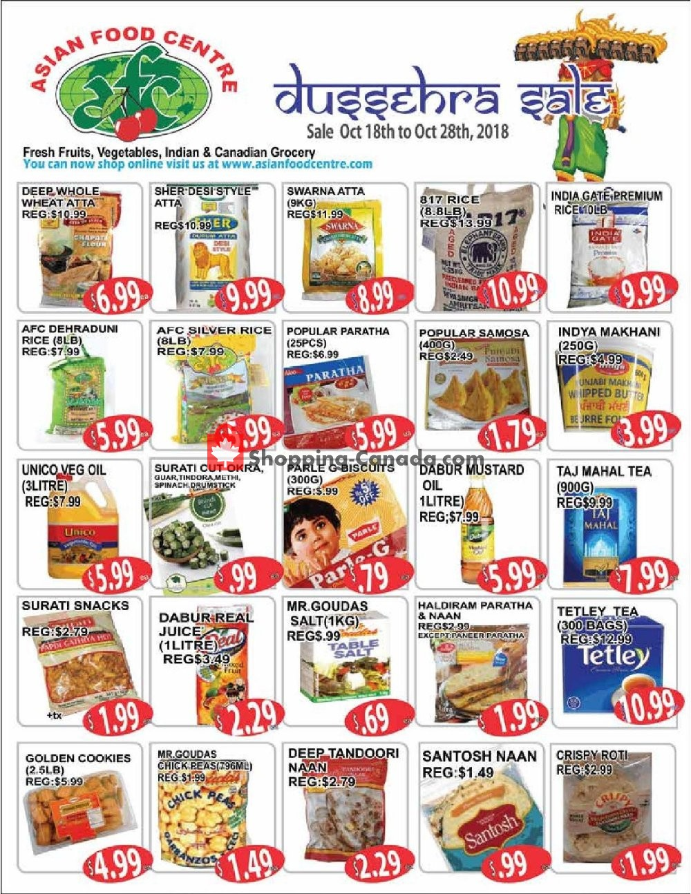 Flyer Asian Food Centre Canada - from Thursday October 18, 2018 to Sunday October 28, 2018