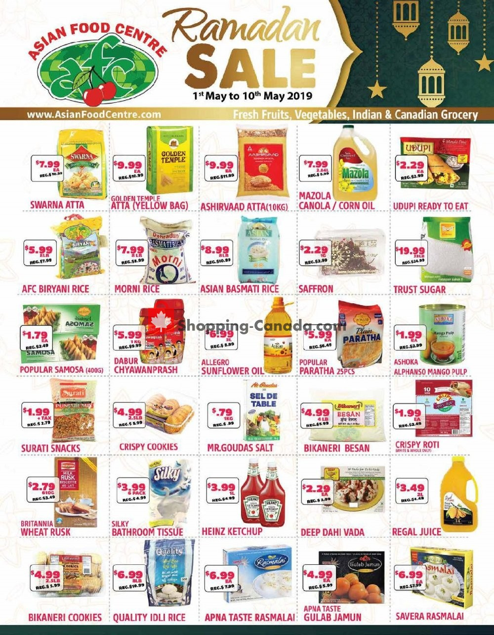 Flyer Asian Food Centre Canada - from Wednesday May 1, 2019 to Friday May 10, 2019