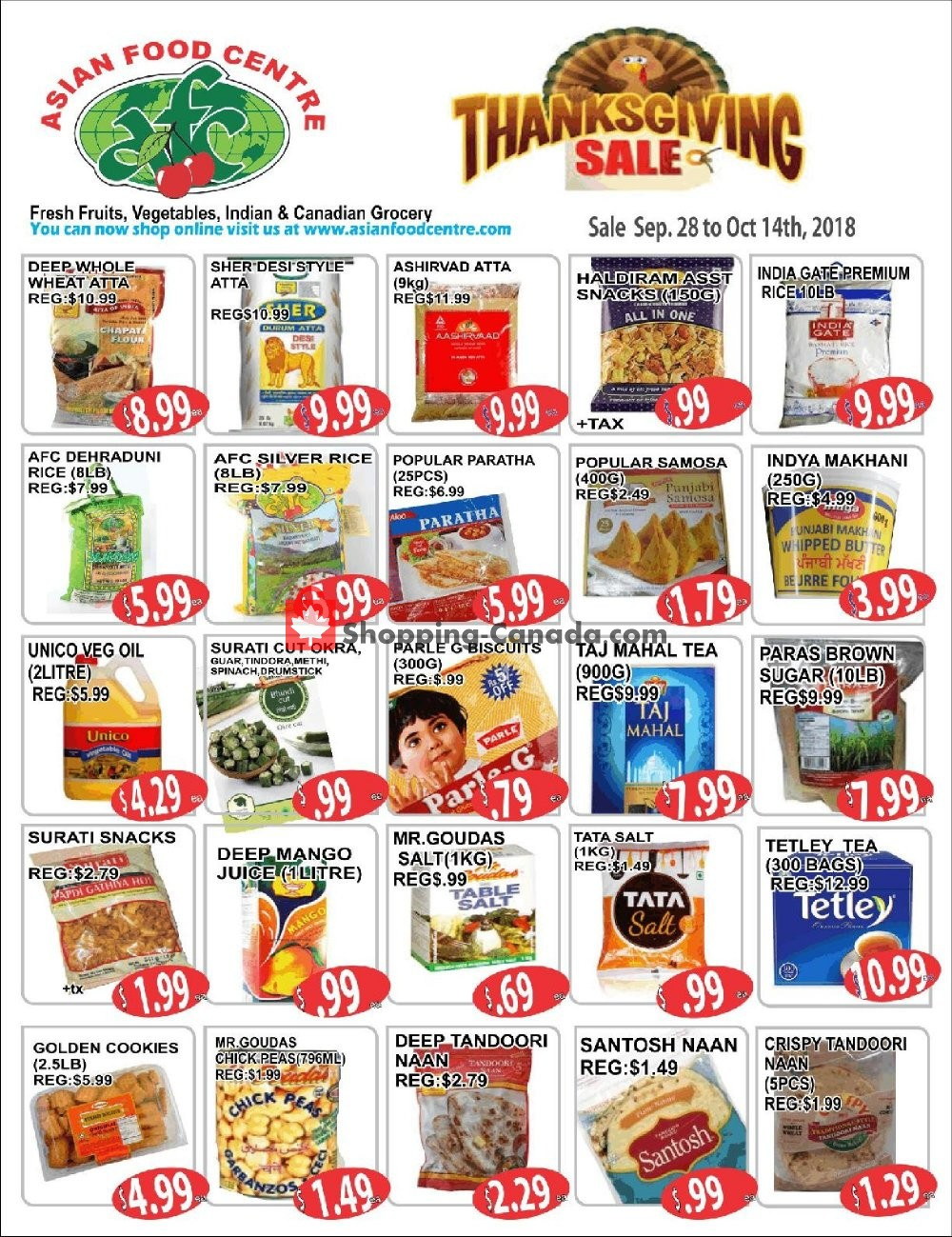 Flyer Asian Food Centre Canada - from Friday September 28, 2018 to Sunday October 14, 2018