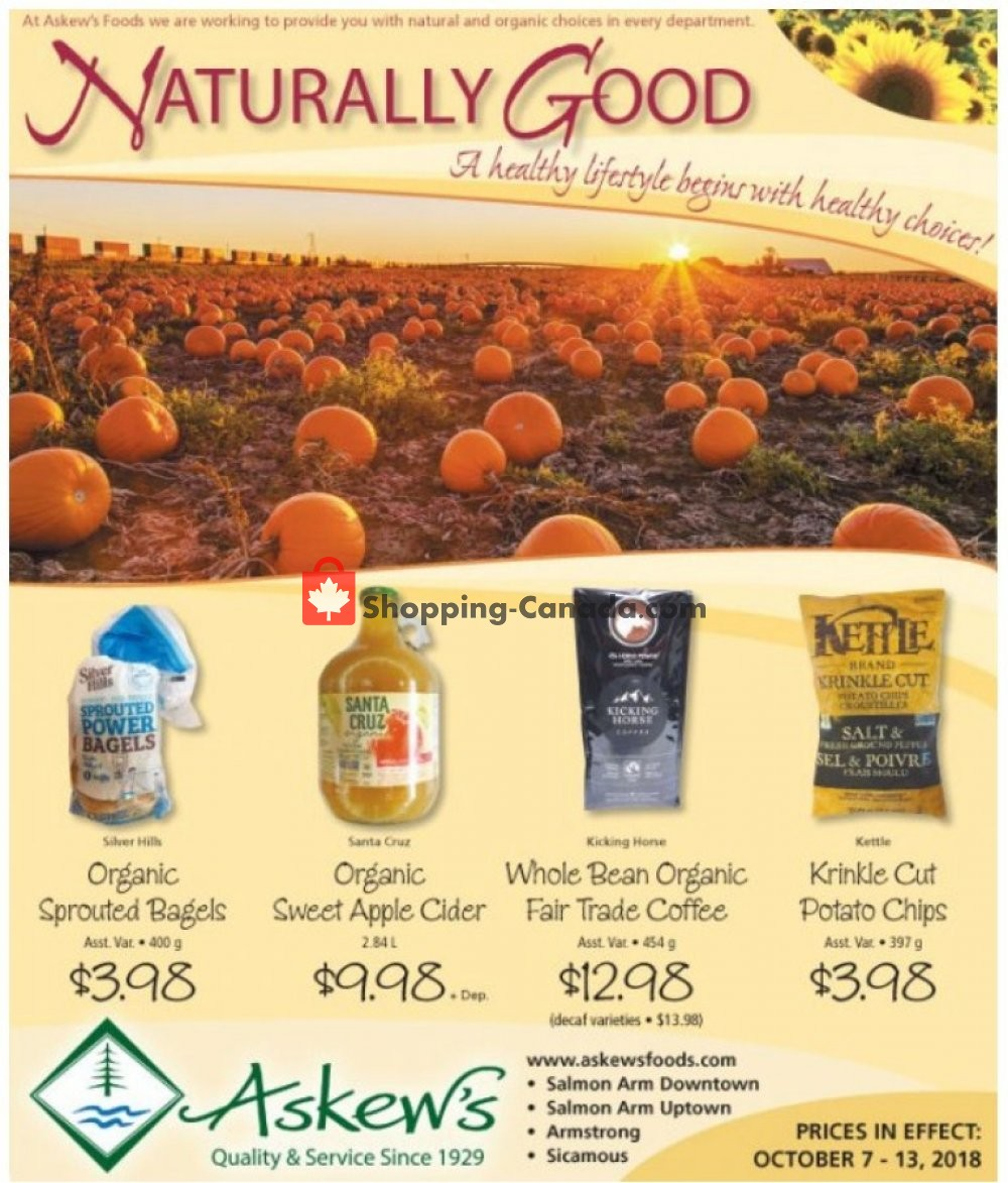 Flyer Askews Foods Canada - from Sunday October 7, 2018 to Saturday October 13, 2018
